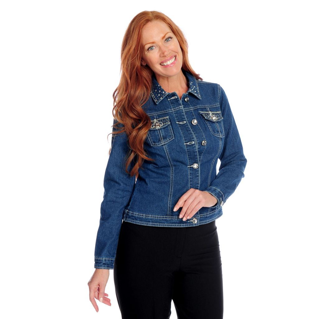 718-095 - Glitterscape Stretch Denim Rhinestone Detail Button Front Jean Jacket