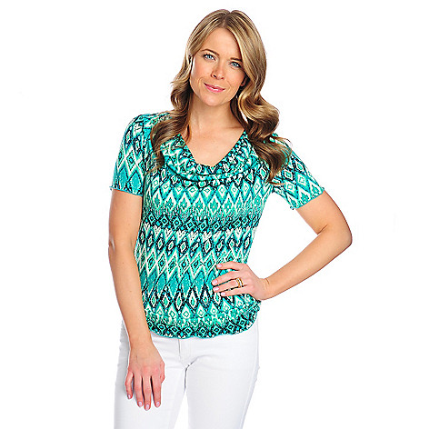 718-099 - The Countess Collection Printed Knit Short Sleeved Drape Neck Top