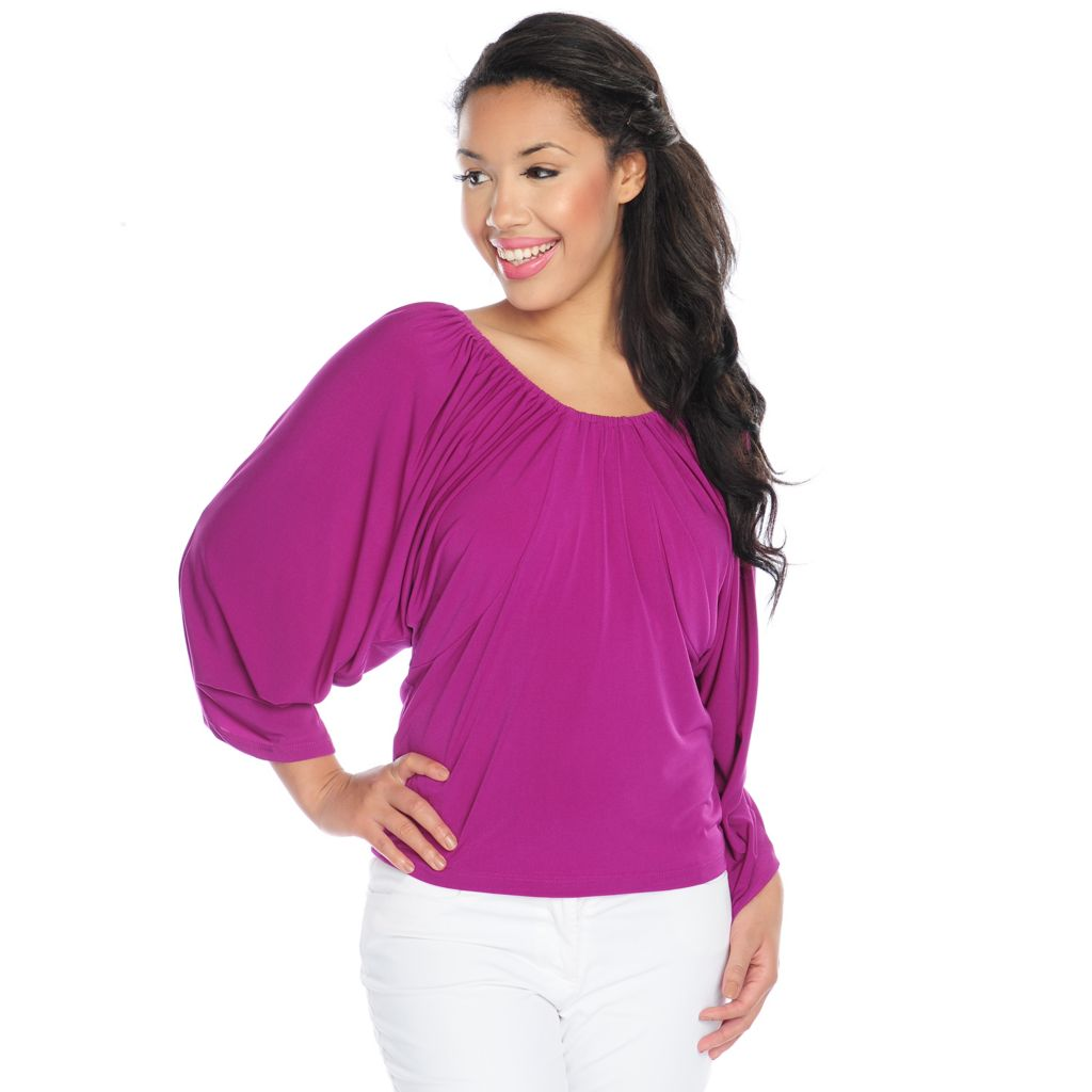 718-100 - The Countess Collection Stretch Knit Dolman Sleeved Ladder Back Top
