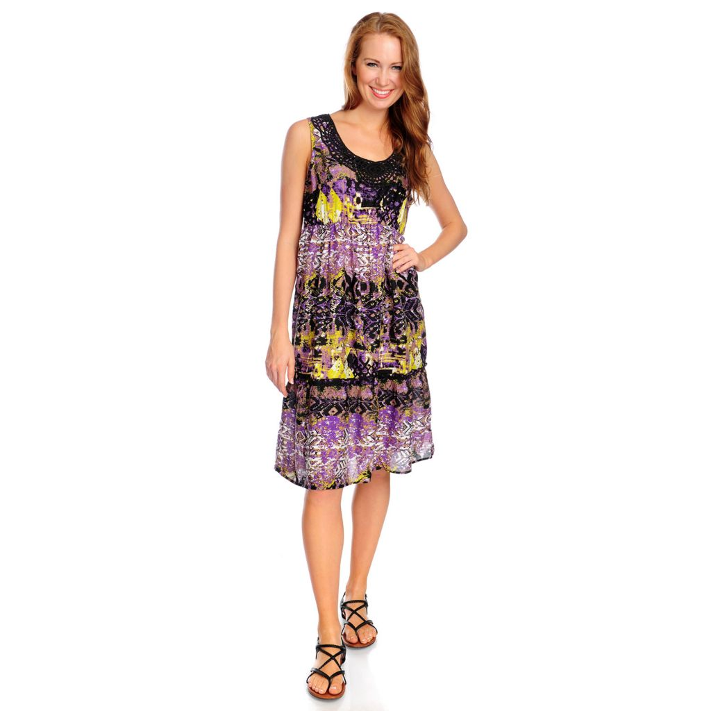 718-110 - OSO Casuals Printed Challis Sleeveless Crochet Trim Flip Flop Dress