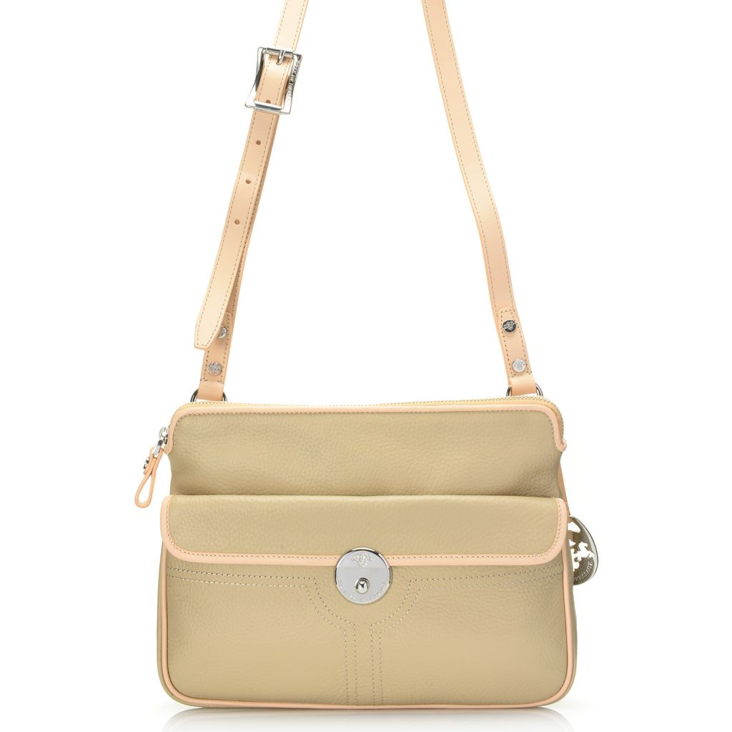 718-111 - PRIX DE DRESSAGE Pebbled Leather Flap-over Front Pocket Zip Top Cross Body Bag