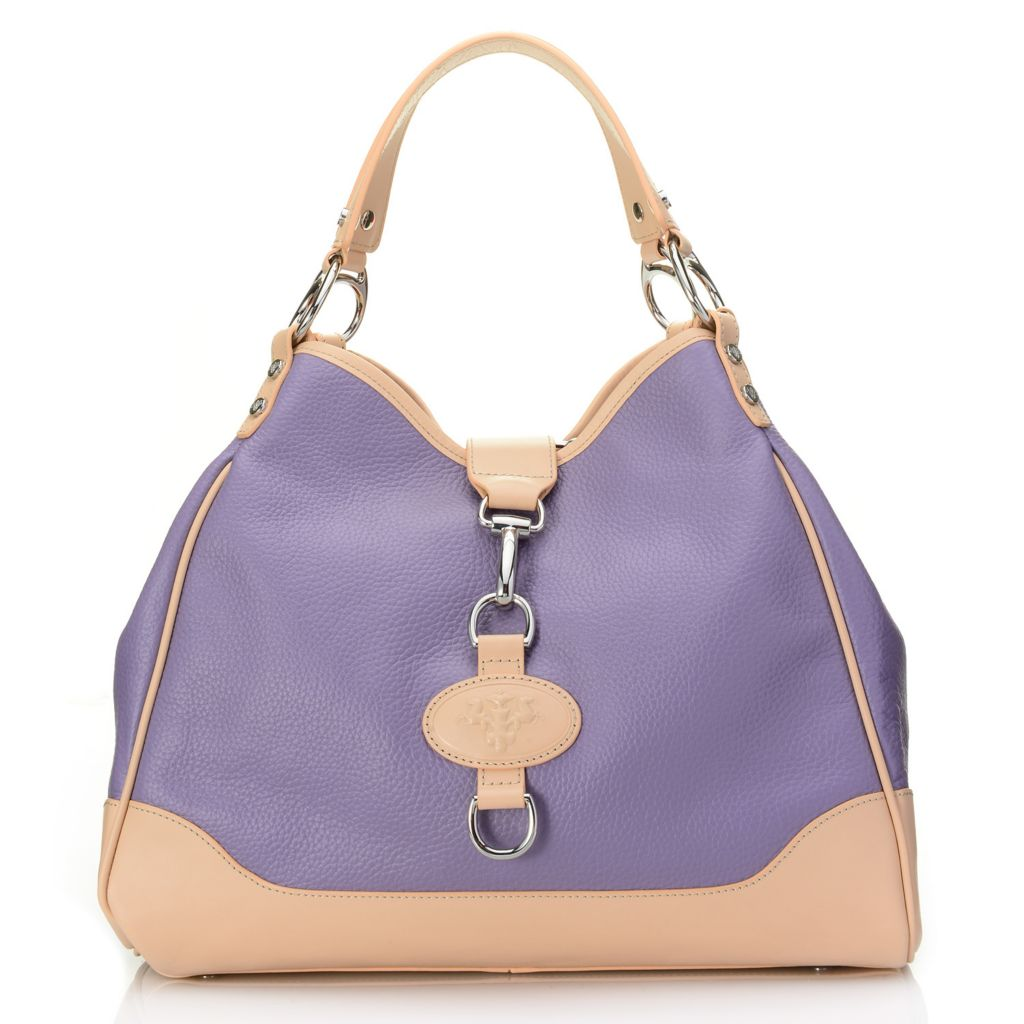 718-115 - PRIX DE DRESSAGE Pebbled Leather Double Handle Hobo Handbag w/ Cross Body Strap