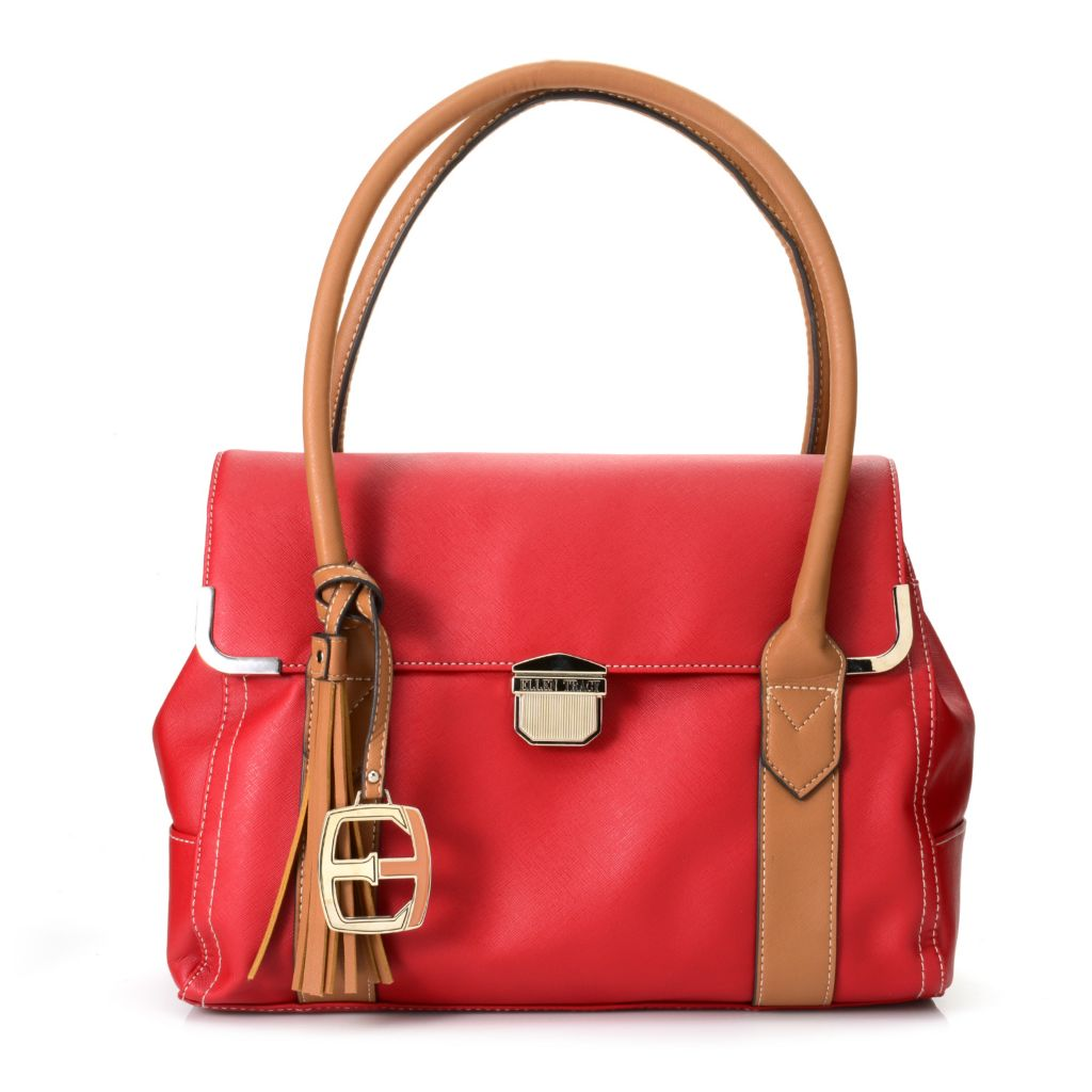718-123 - Ellen Tracy Saffiano Finished Double Handle Multi Compartment Flap-over Tote Bag