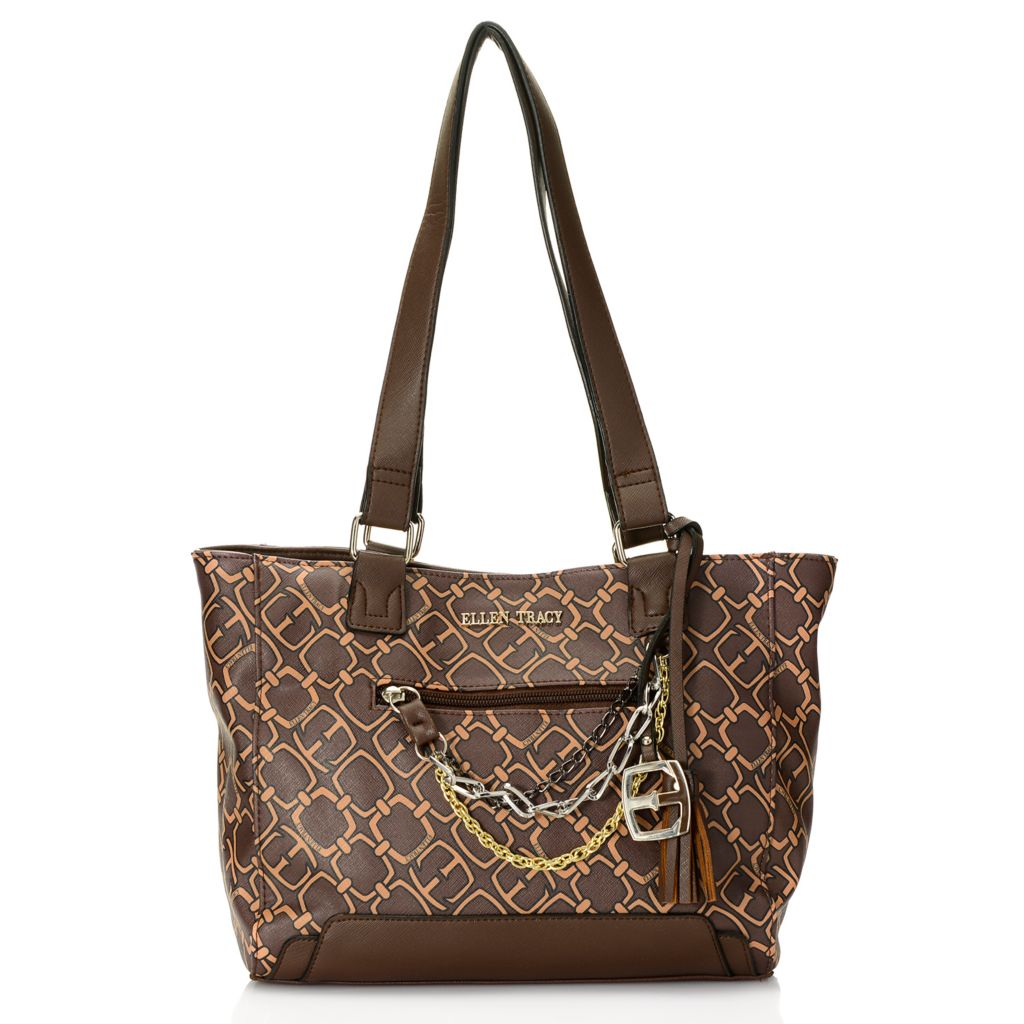 718-131 - Ellen Tracy Croco Embossed & Saffiano Finished Chain Detailed Double Handle Tote