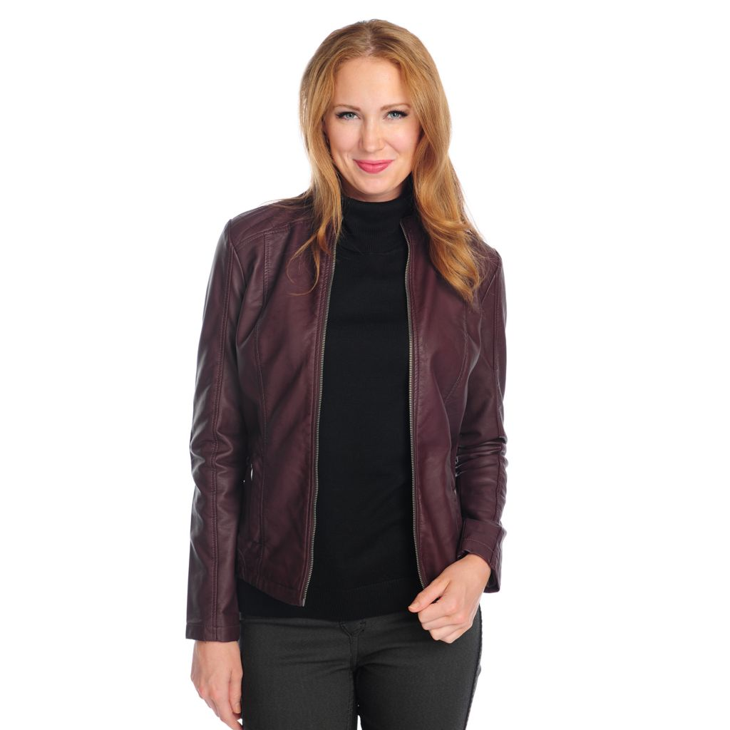 718-139 - OSO Casuals Faux Leather Long Sleeved Quilted Detail Zip Front Jacket