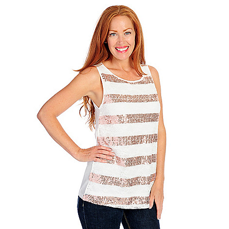 718-142 - Glitterscape® Stretch Knit Lace Front Sequin Striped Tank Top