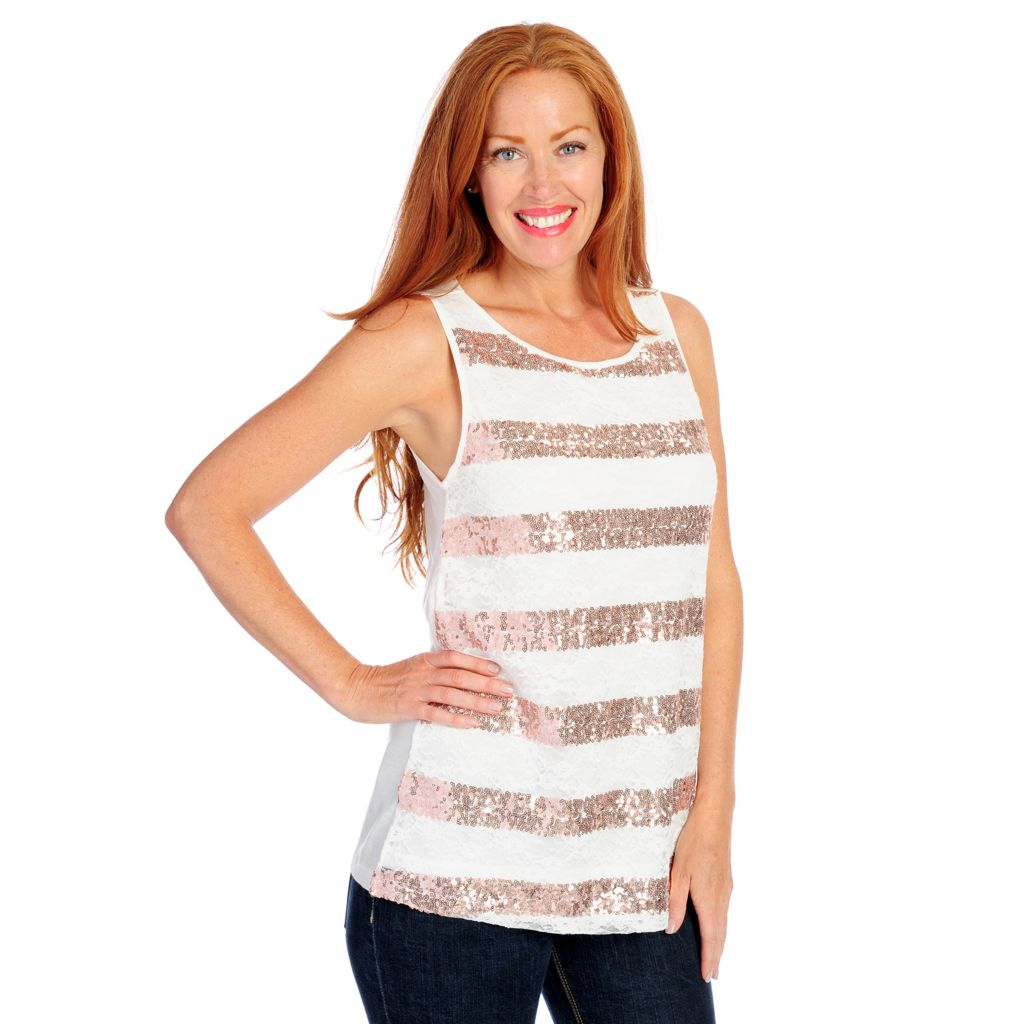 718-142 - Glitterscape Stretch Knit Lace Front Sequin Striped Tank Top