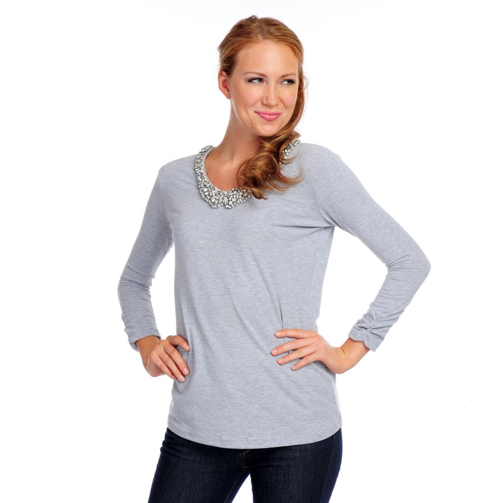 718-143 - Glitterscape Stretch Knit Ruched 3/4 Sleeve Embellished Peter Pan Neck Top
