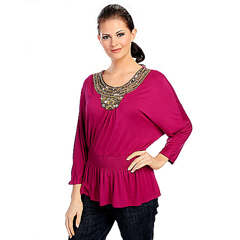 718-144 - Glitterscape Stretch Knit Dolman Sleeve Shirred Waist Embellished Top