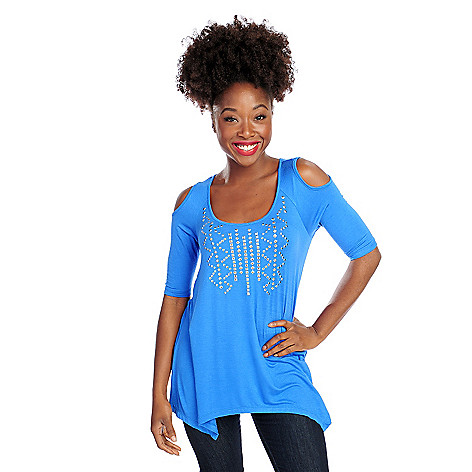 718-145 - Glitterscape® Stretch Knit Cold Shoulder Sharkbite Hem Stud Detail Top