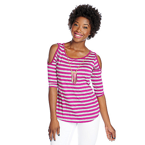 718-149 - Glitterscape Stretch Knit Cold Shoulder Necklace Detailed Striped Top