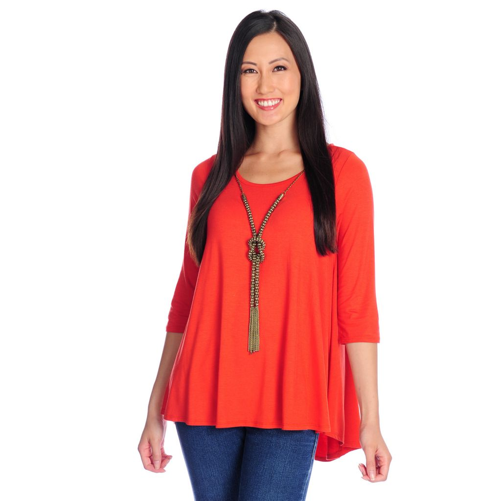 718-150 - Glitterscape Stretch Knit 3/4 Sleeved Necklace Detailed Hi-Lo Top