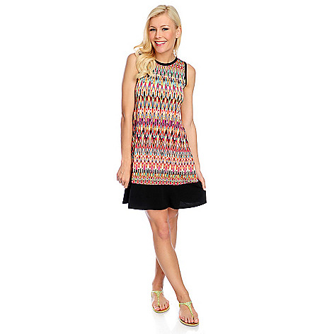 718-154 - Kate & Mallory® Printed Knit Sleeveless Solid Border Flip Flop Dress