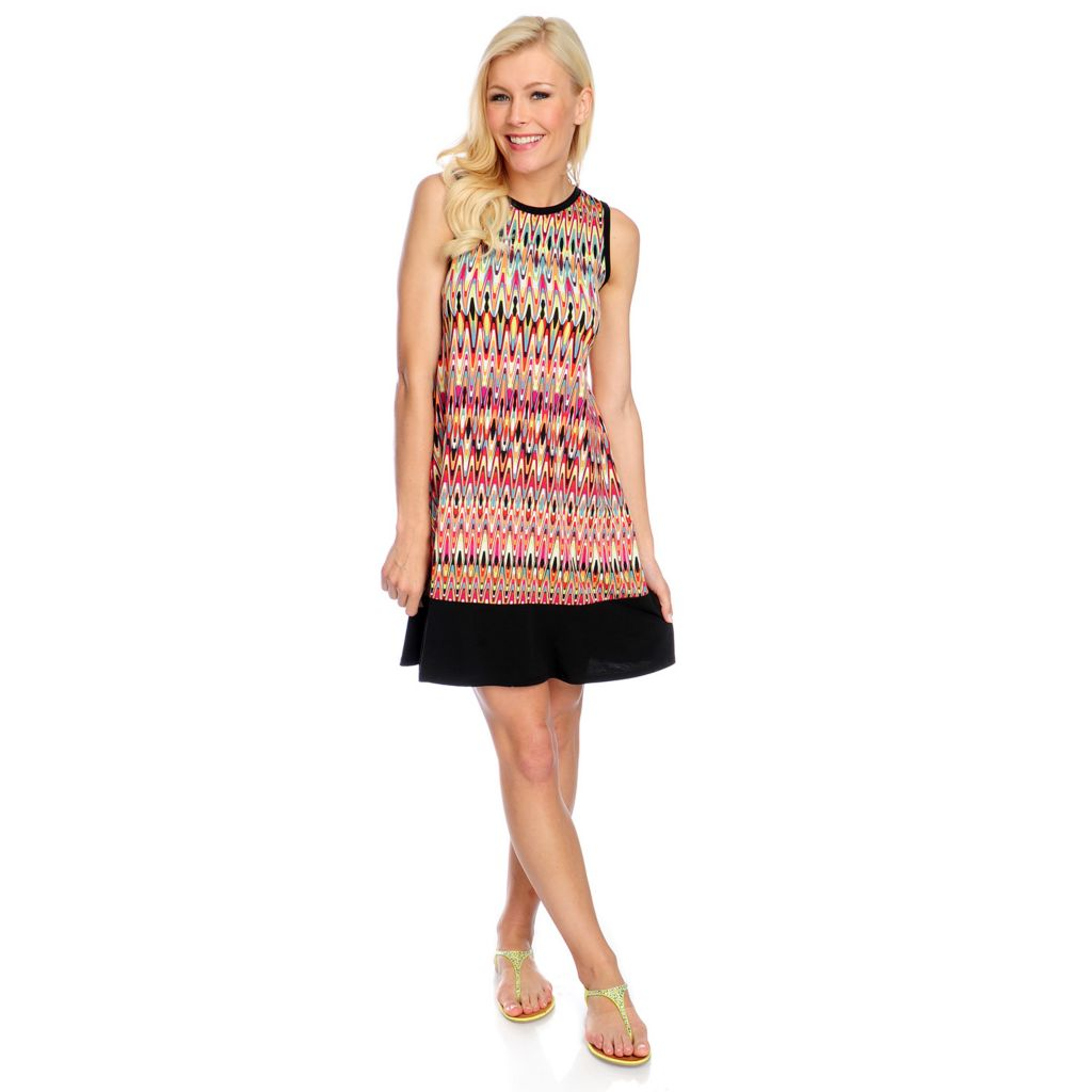 718-154 - Kate & Mallory Printed Knit Sleeveless Solid Border Flip Flop Dress