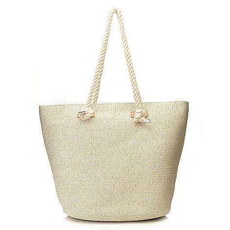 718-161 - Magid® Metallic Woven Straw Double Rope Handle Bucket Tote Bag