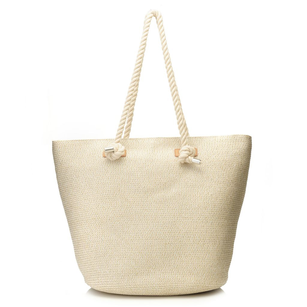 718-161 - Magid® Metallic Woven Straw Double Rope Handle Bucket Tote Bag