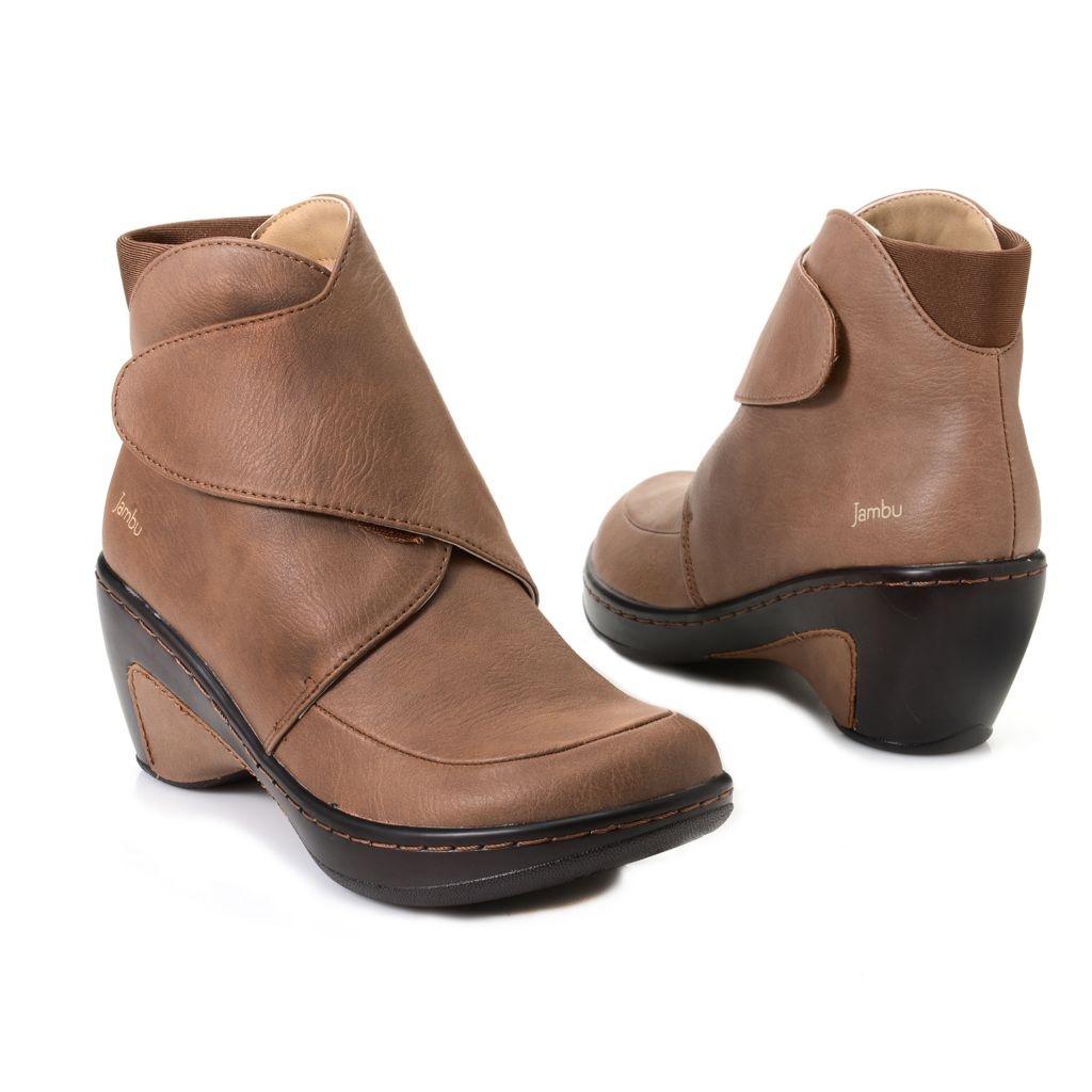 718-168 - Jambu Memory Foam Crossover Strap Wedge Heel Ankle Boots