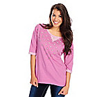 718-184 - Glitterscape French Terry 3/4 Sleeved Rhinestone Detail Hi-Lo Sweatshirt