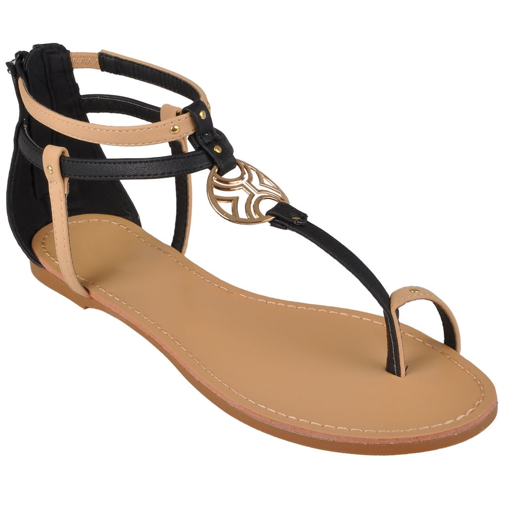 718-213 - Hailey Jeans Co. Women's Metal Ring T-Strap Sandals