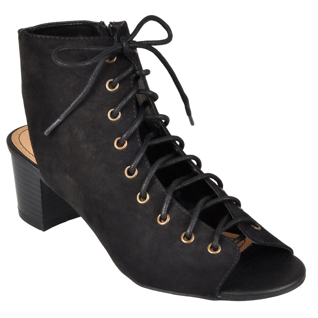 718-218 - Hailey Jeans Co. Women's Lace-up Faux Suede Heels