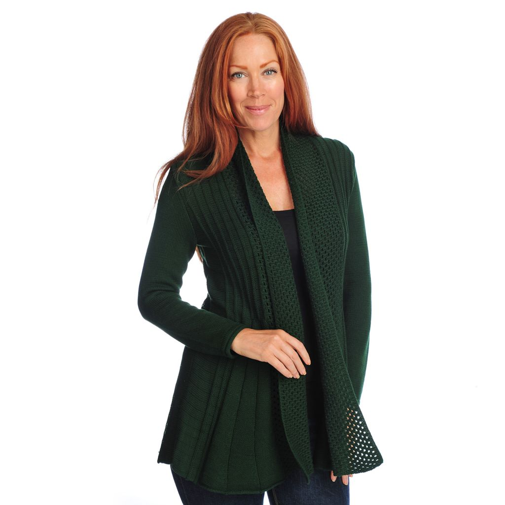 718-234 - Gramercy 22™ Textured Stitch Long Sleeved Rolled Collar Cardigan Sweater