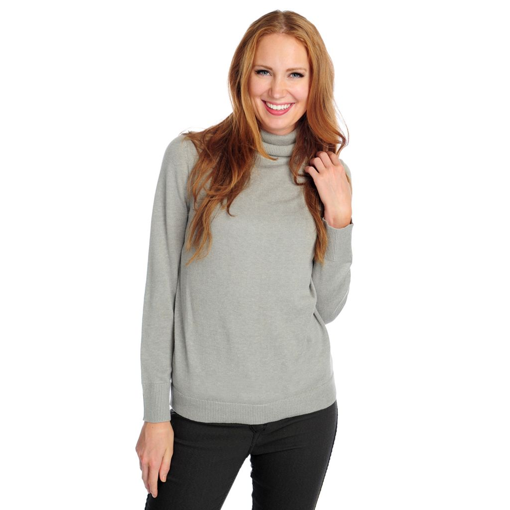 718-236 - OSO Casuals Fine Gauge Knit Long Sleeved Ribbed Trim Turtleneck Sweater