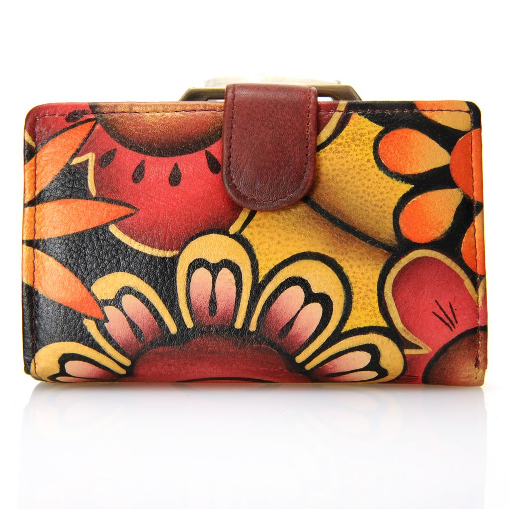 718-245 - Anuschka Hand-Painted Leather Kiss Lock Coin Pocket Two-Fold Wallet