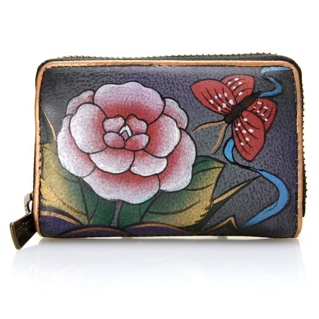 718-246 - Anuschka Hand-Painted Leather Zip Around Credit & Business Card Wallet