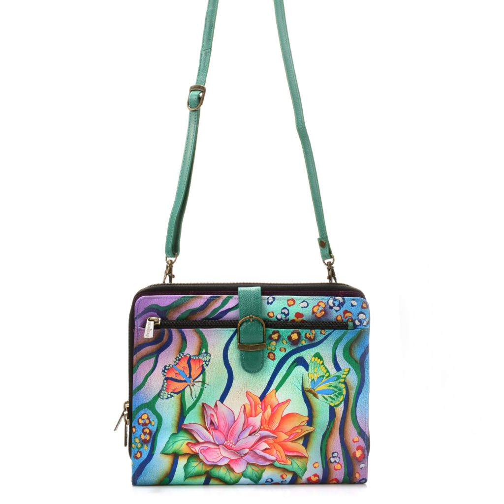 718-250 - Anuschka Hand-Painted Leather Tablet Case w/ Removable Strap