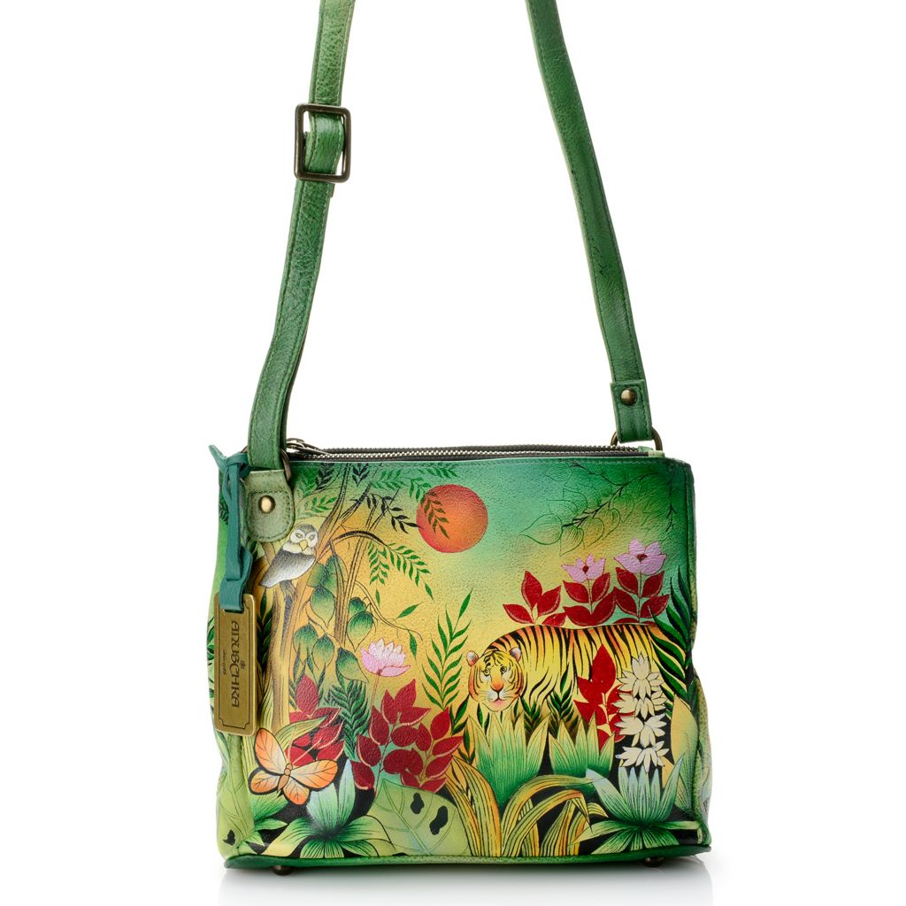 718-251 - Anuschka Hand-Painted Leather Expandable Triple Compartment Cross Body Bag