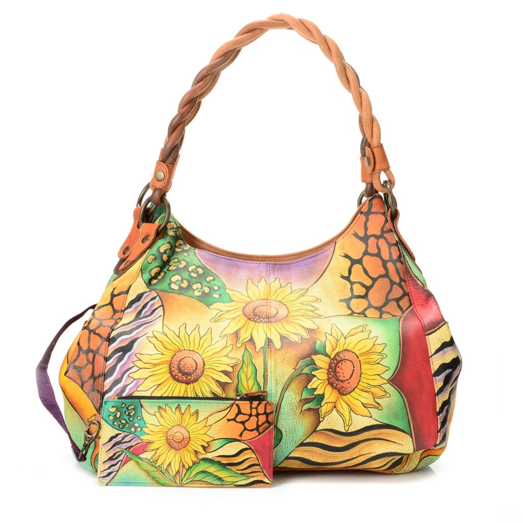 718-252 - Anuschka Hand-Painted Leather Twisted Handle Shopper Bag w/ Organizer Wallet