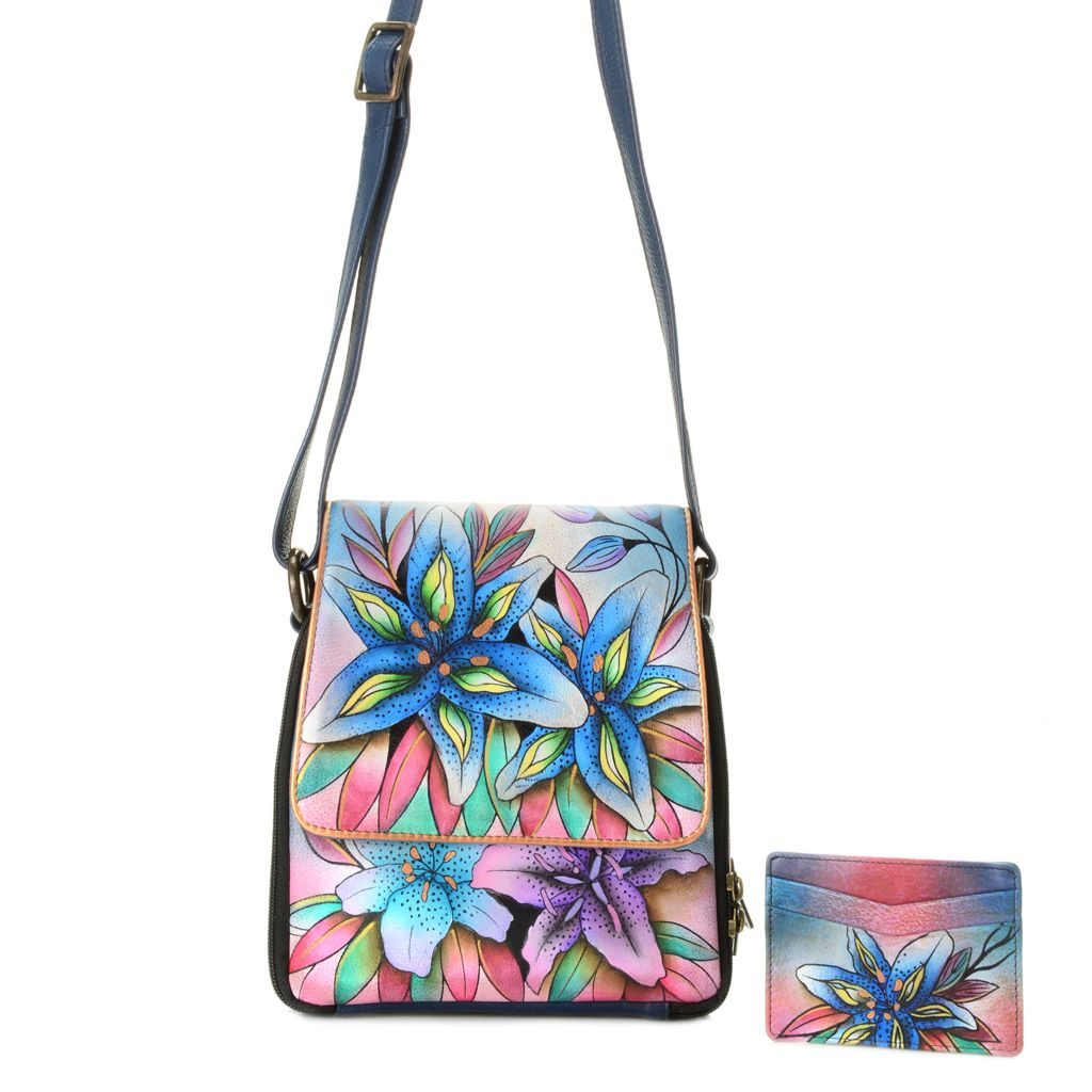 718-258 - Anuschka Hand-Painted Leather Organizer Cross Body Bag w/ Credit Card Case