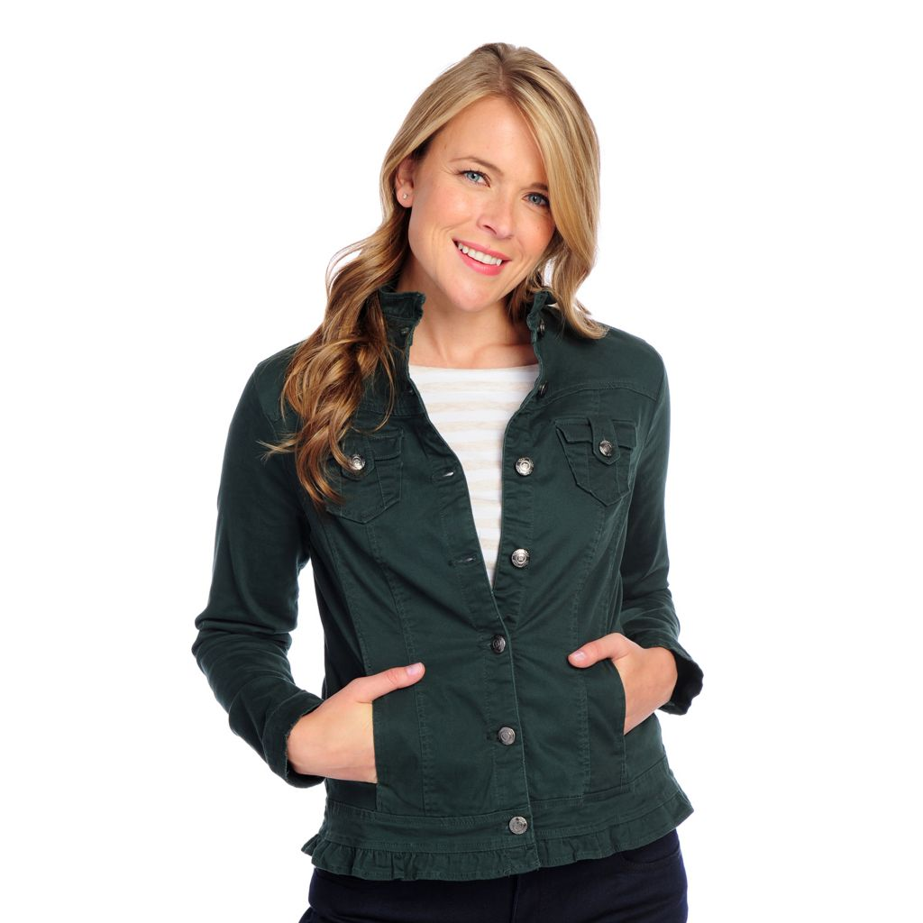 718-259 - OSO Casuals Stretch Twill Long Sleeved Button Front Ruffle Trim Jacket