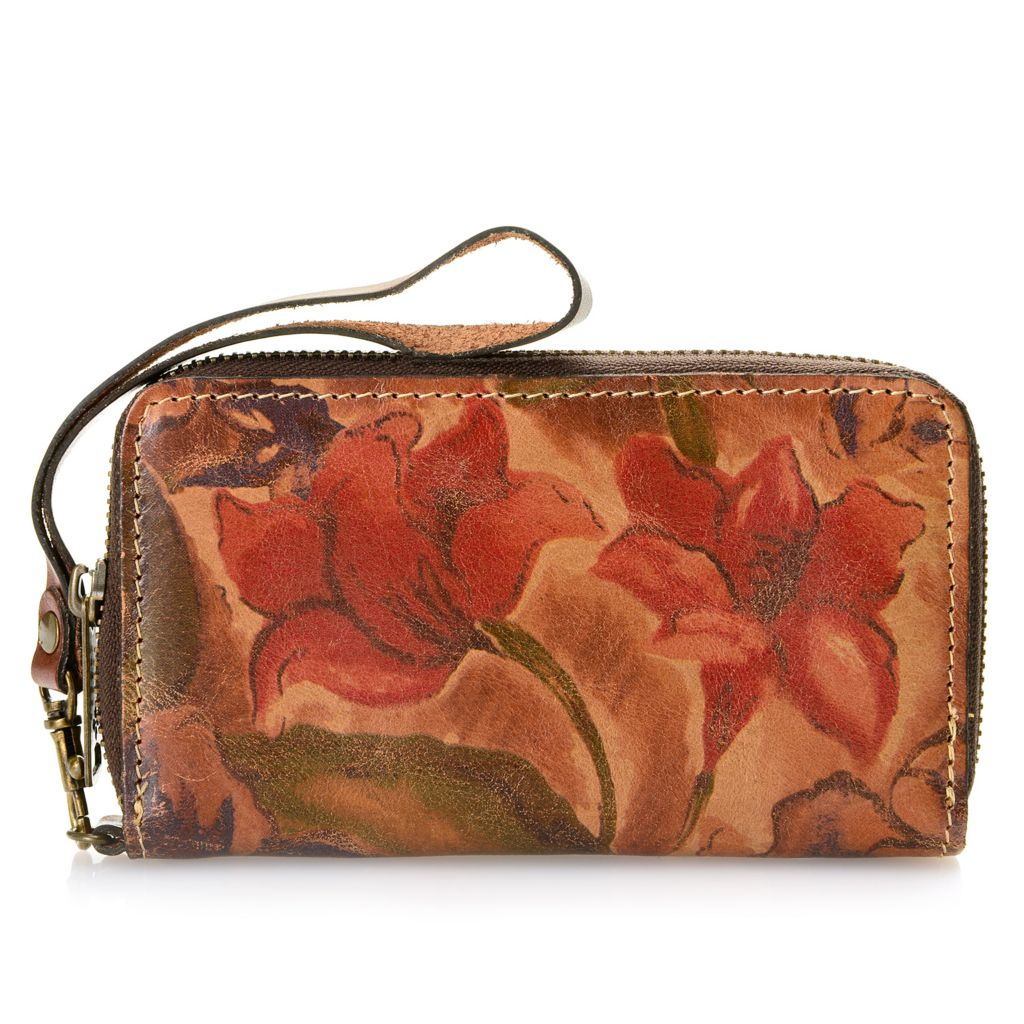 718-301 - Patricia Nash Leather Zip Around Phone Wallet w/ Wrist Strap