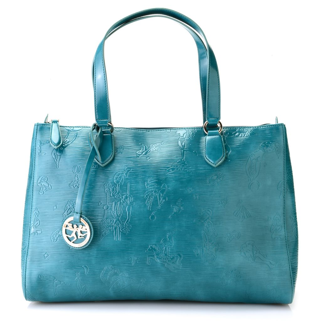 718-352 - Piero Guidi Coated Canvas Embossed Collection Zip Top Large Tote Bag