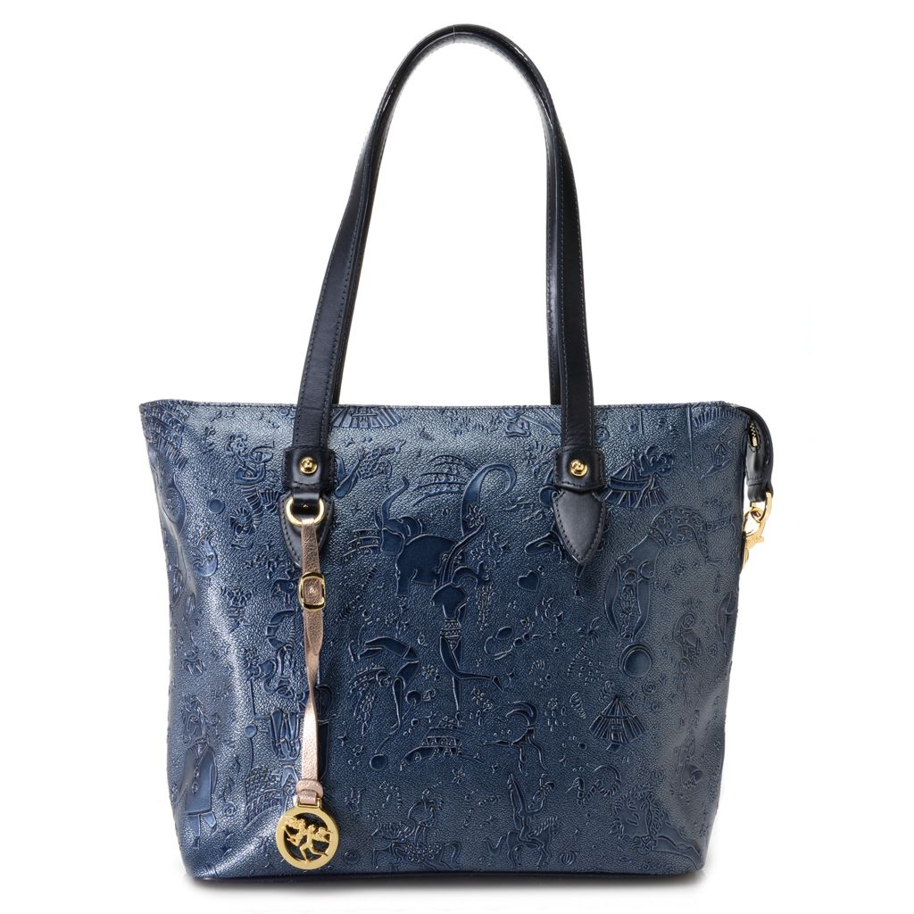 718-353 - Piero Guidi Coated Canvas Embossed Collection Zip Top Tote Bag
