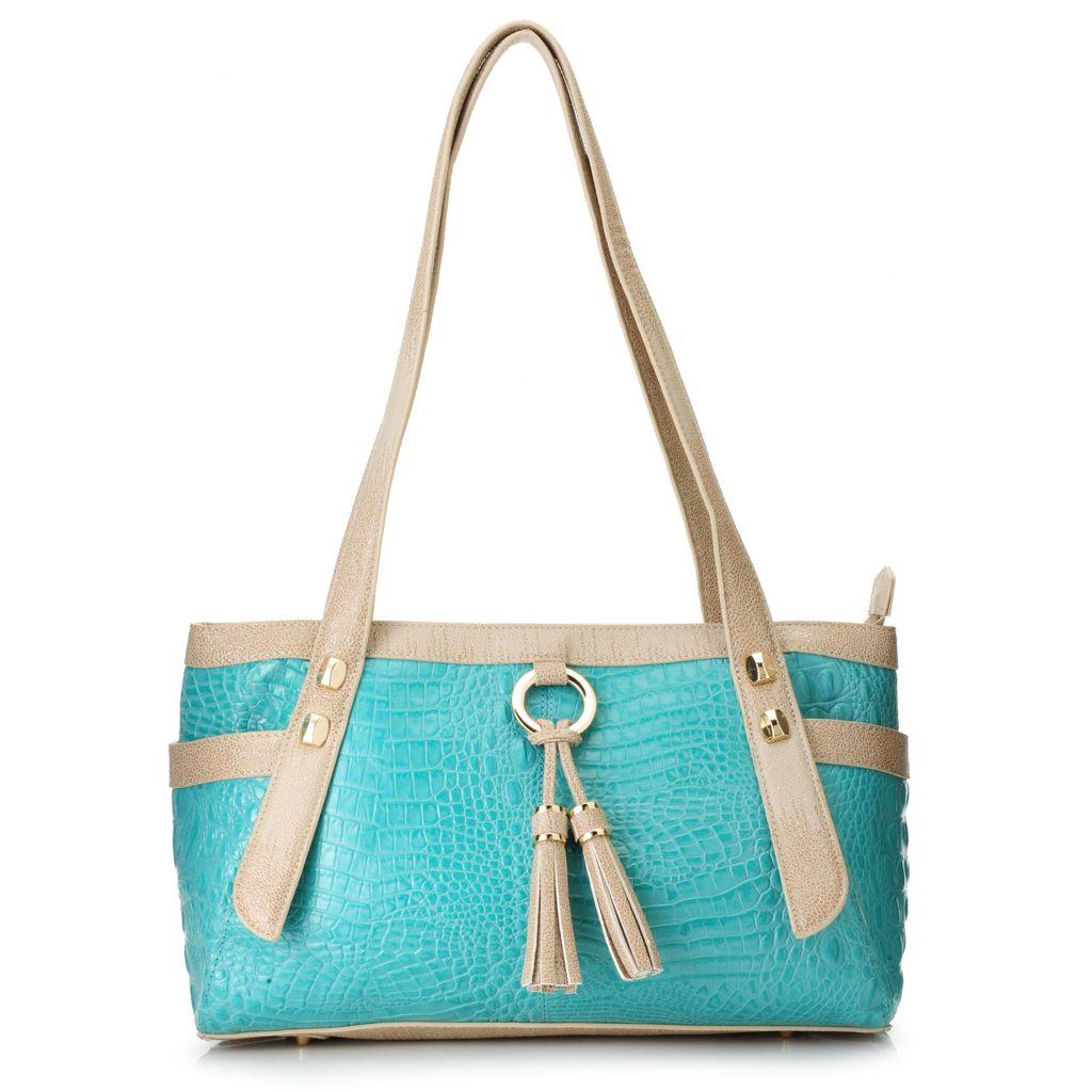 718-387 - Madi Claire Croco Embossed Leather Double Handle Tasseled Zip Top Satchel