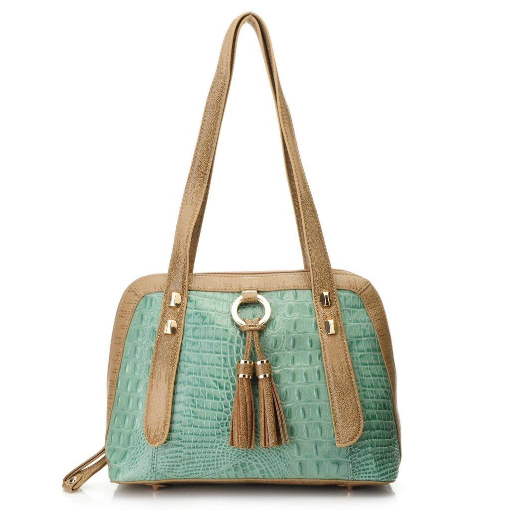 718-388 - Madi Claire Croco Embossed Leather Double Handle Zip Around Dome Satchel