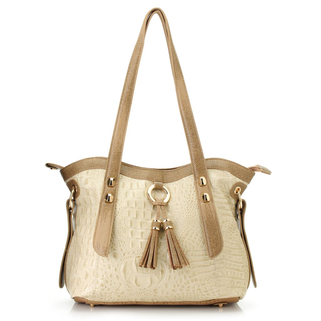 718-389 - Madi Claire Croco Embossed Leather Double Handle Tasseled Shopper Handbag