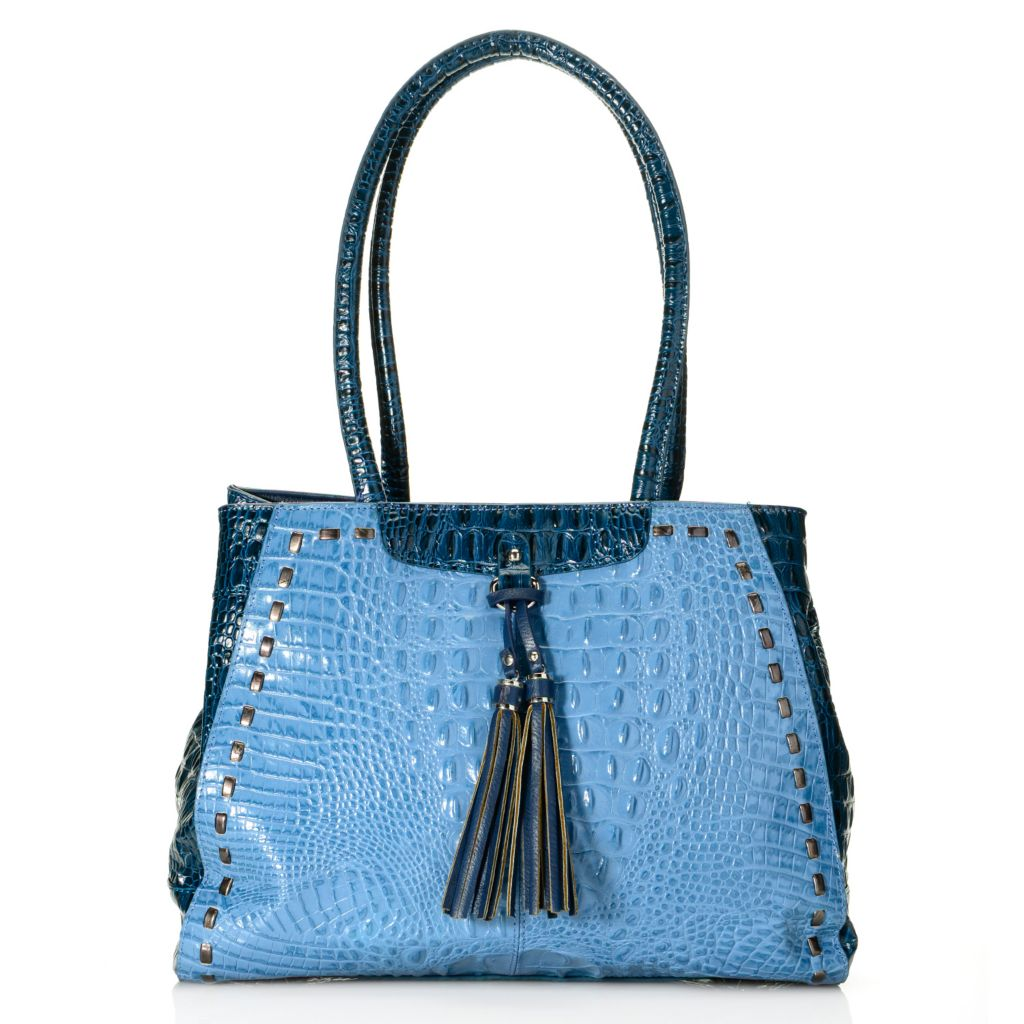 718-390 - Madi Claire Croco Embossed Leather Double Handle Tasseled Shopper Handbag