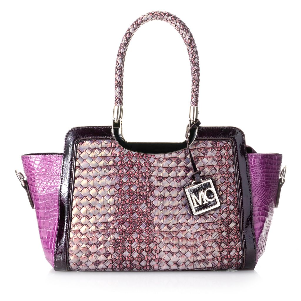 718-391 - Madi Claire Croco Embossed Leather Double Handle Woven Satchel w/ Strap