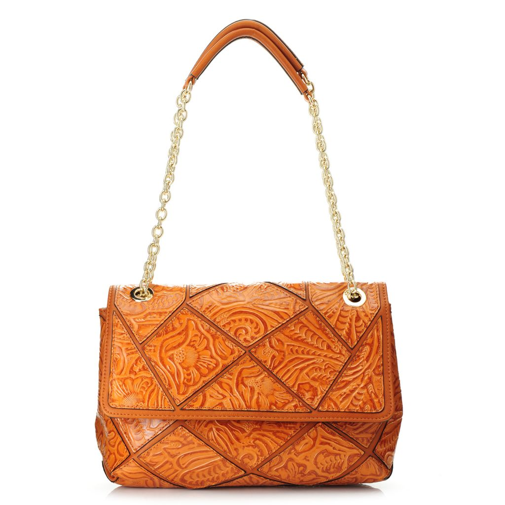 718-393 - Madi Claire Tool Embossed Leather Patchwork & Chain Detailed Shoulder Bag