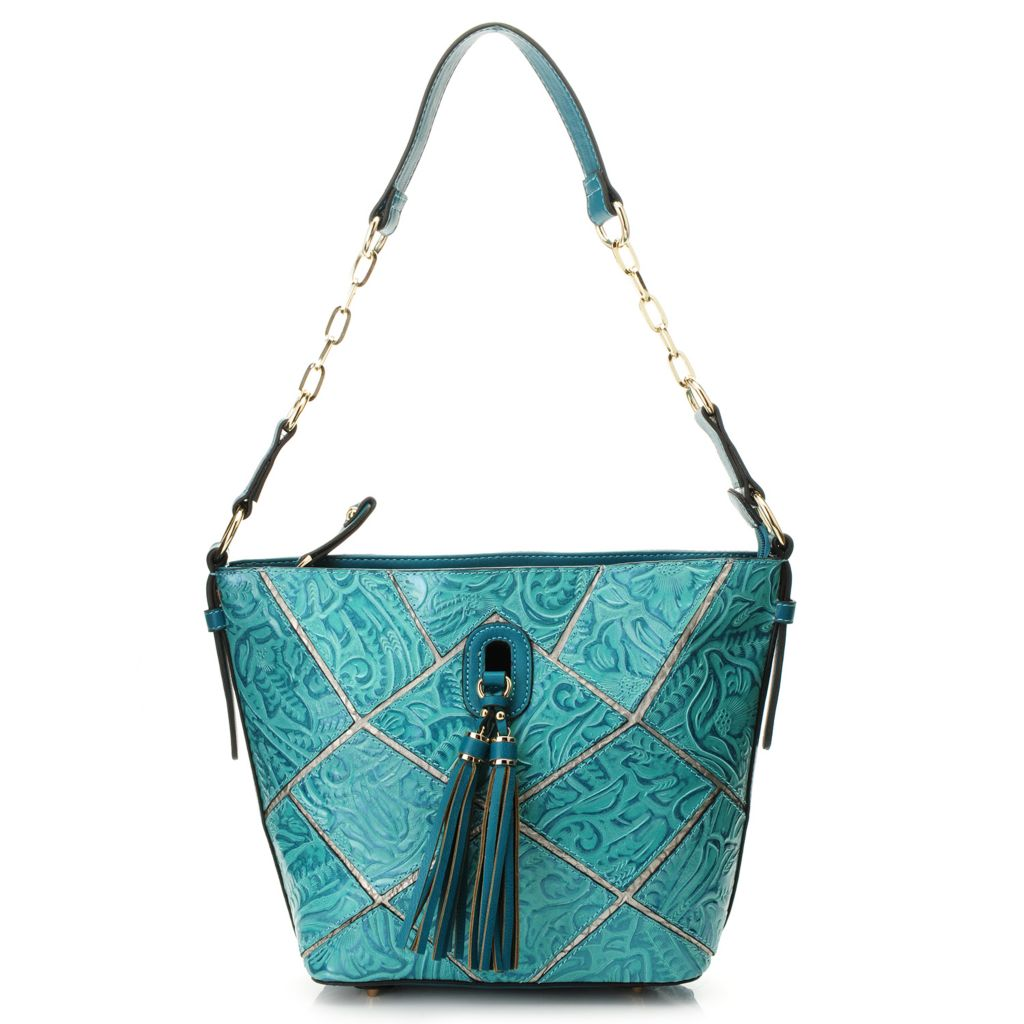 718-394 - Madi Claire Tool Embossed Leather Patchwork Design Tasseled Hobo Handbag