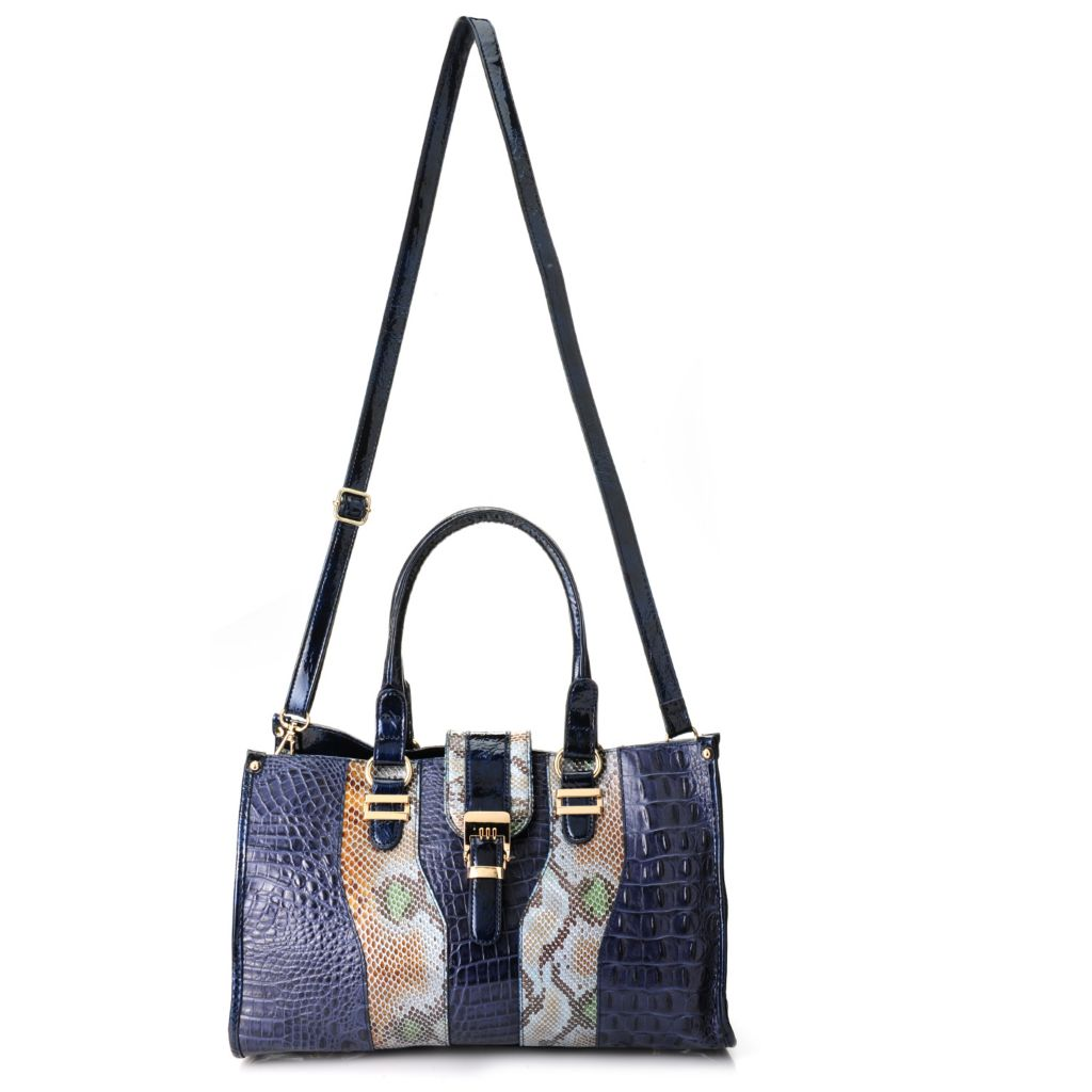 718-395 - Madi Claire Croco Embossed Leather & Snake Print Satchel w/ Strap