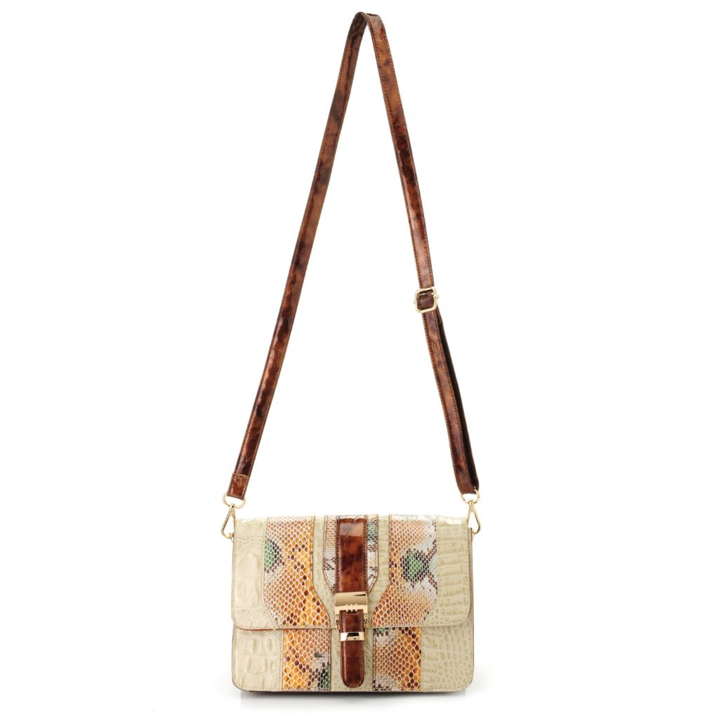 718-396 - Madi Claire Croco Embossed Leather & Snake Print Flap-over Cross Body Bag