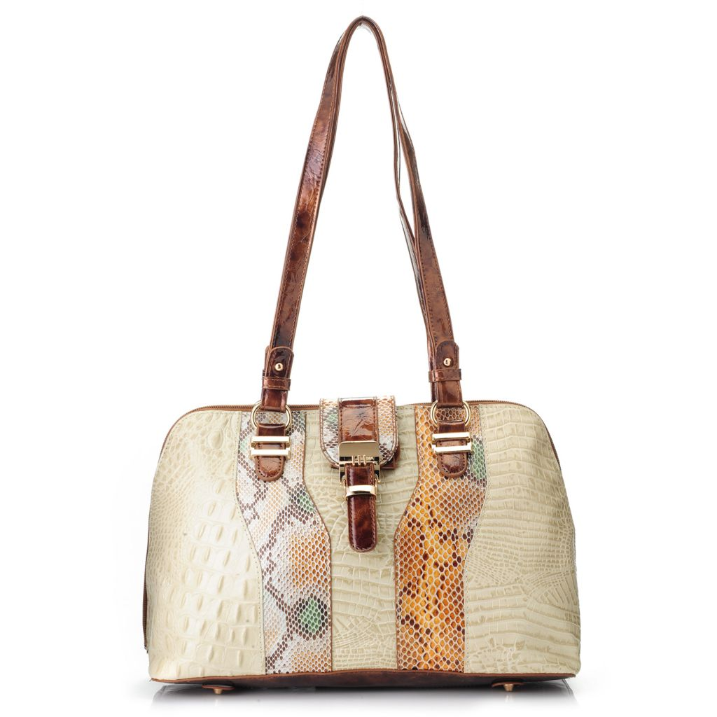718-397 - Madi Claire Croco Embossed Leather & Snake Print Zip Around Satchel
