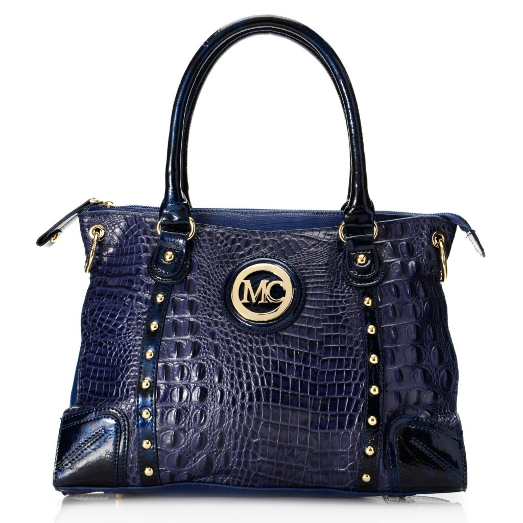 718-401 - Madi Claire Croco & Lizard Embossed Leather Double Handle Satchel w/ Strap