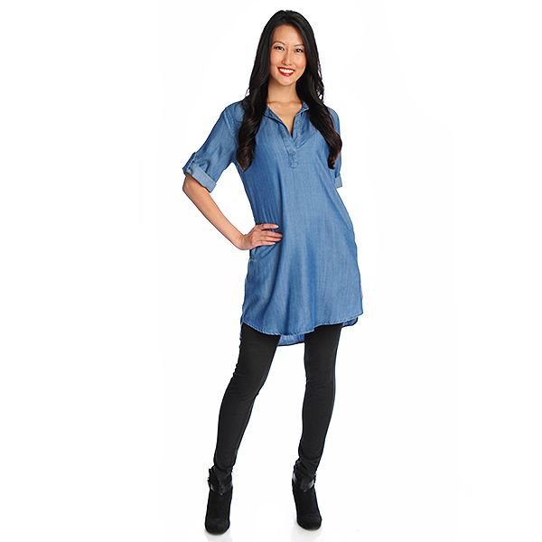 718-414 - OSO Casuals Lyocell Roll Tab Sleeved Pullover Shirt Dress