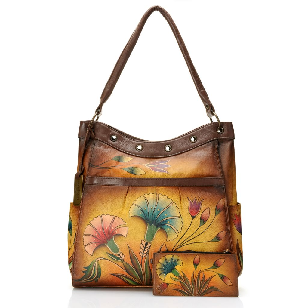 718-419 - Anuschka Hand-Painted Leather Large Shopper Tote Bag w/ Matching Wallet