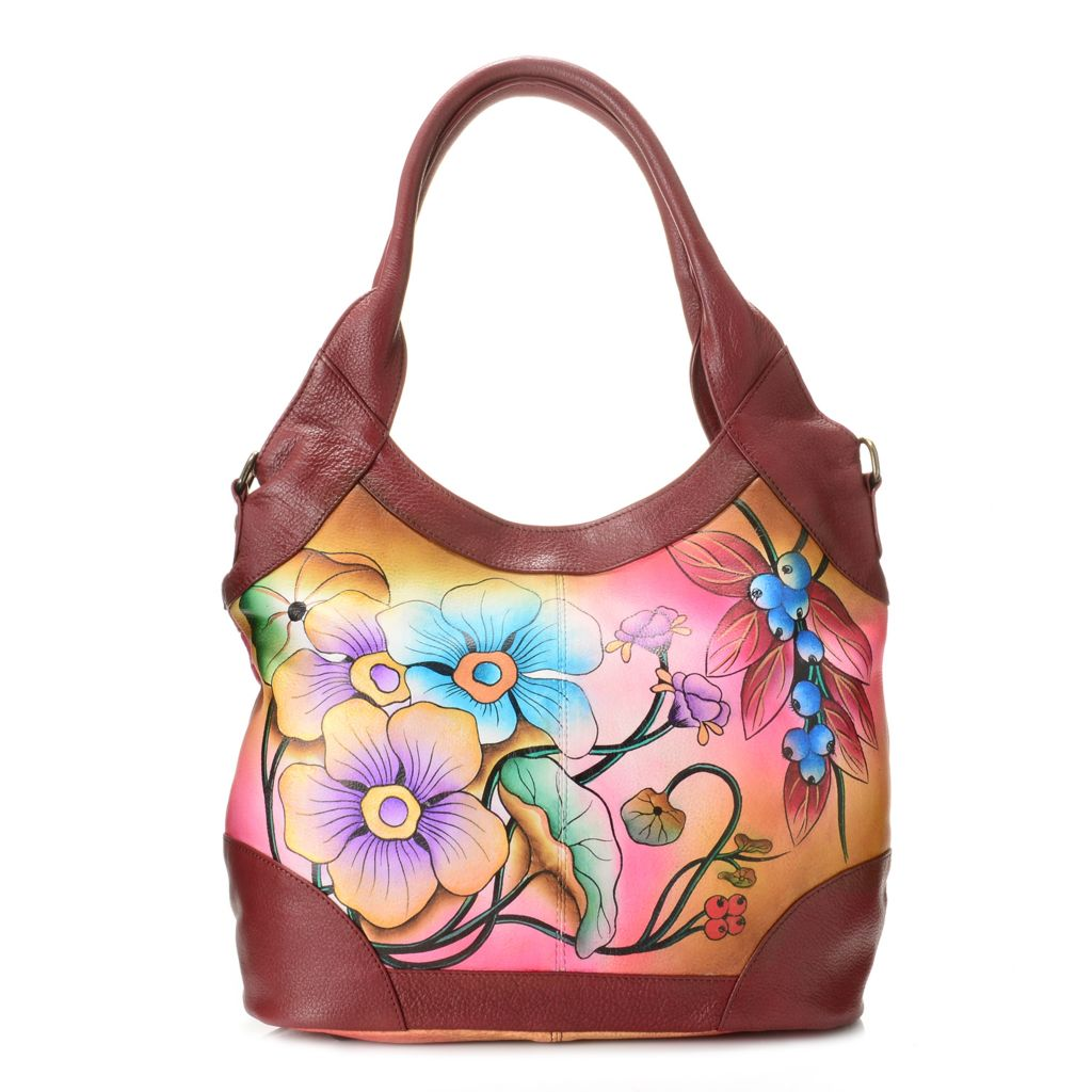 718-421 - Anuschka Hand-Painted Leather Shopper Handbag w/ Shoulder Strap